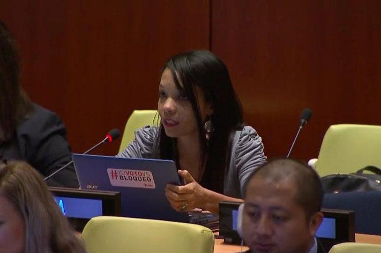 La representante cubana destacó que el actual contexto global está marcado por crecientes amenazas a la paz y seguridad internacionales. Foto: PL.