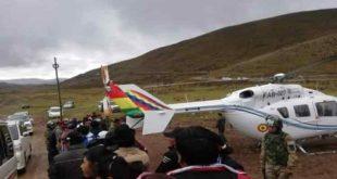 Evo Morales, Bolivia, helicóptero