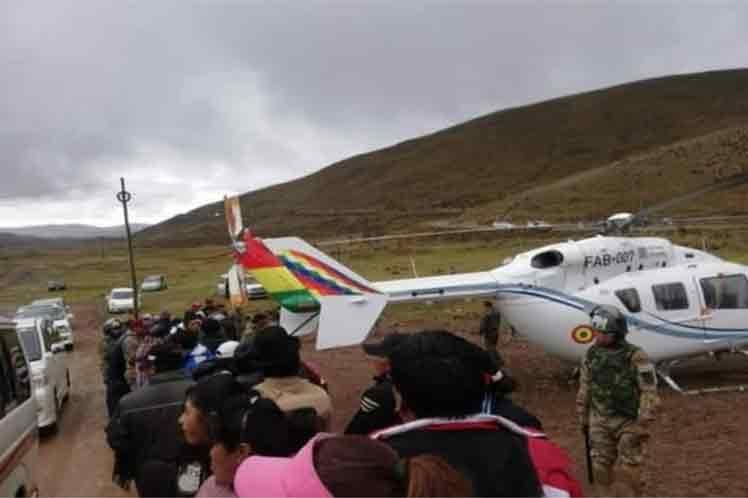 La Fuerza Aérea Boliviana certificó que el helicóptero presidencial se vio obligado a aterrizar  de emergencia. (Foto: PL)