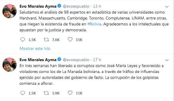 Evo saludó 'el análisis de 98 expertos en estadística de varias universidades, que niegan la existencia de fraude en Bolivia.