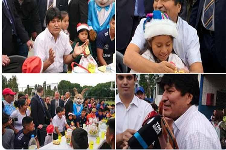 Evo compartió esta navidad con los niños y niñas de la comunidad boliviana en esta nación austral. (Foto: PL)