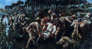 La caída de Maceo según la recreación del pintor cubano Armando García Menocal.
