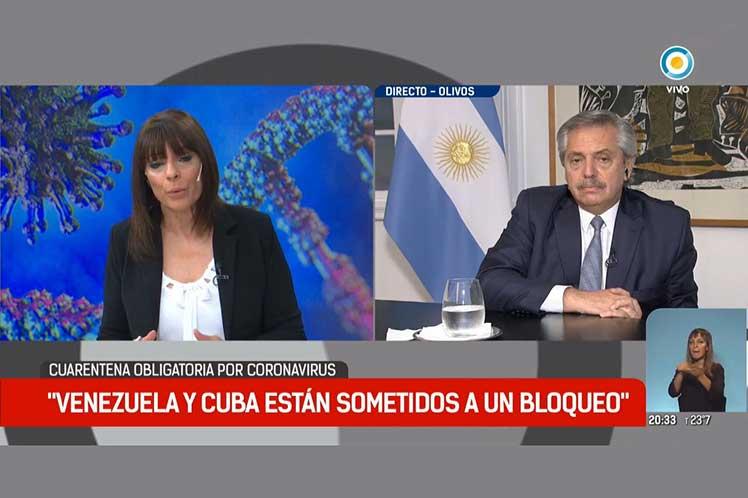 Todos los países tienen derechos a vivir bien y sanos, aseguró el presidente argentino durante una entrevista televisiva. (Foto: PL)