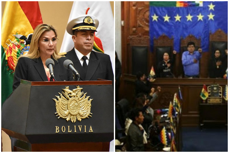 Jeanine Áñez lanzó ataques y acusaciones contra la Asamblea  Legislativa Plurinacional. (Foto: PL)