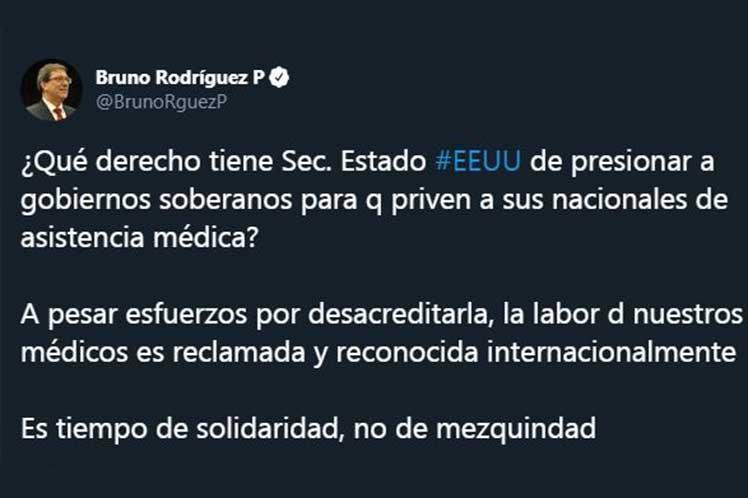 Bruno Rodríguez cuestionó los recientes señalamientos del Secretario de Estado de EE.UU. (Foto: PL)