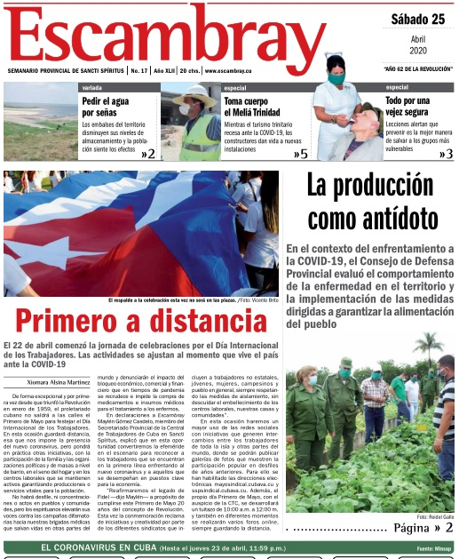 Escambray impreso 25 de abril, 2020