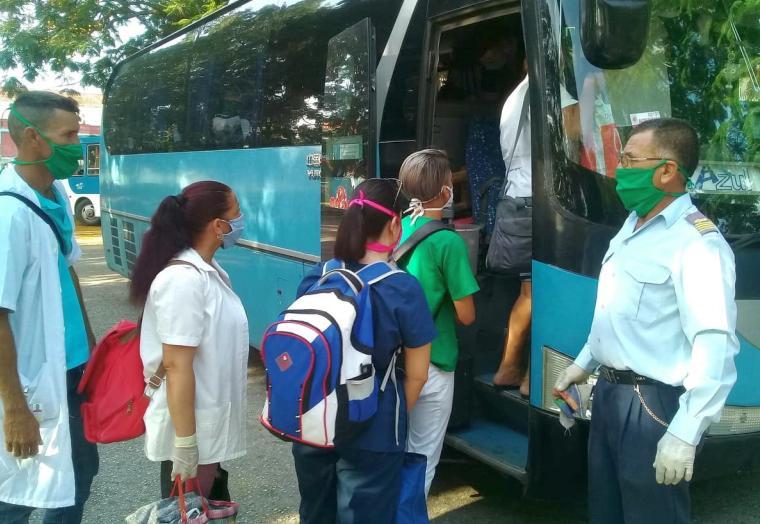 sancti spiritus, transporte, omnibus nacionales, salud publica, centros asistenciales, coronavirus, covid-19