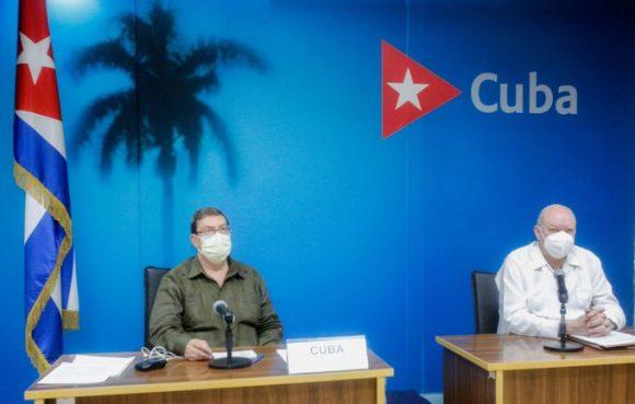El canciller Bruno Rodríguez y el ministro de Comercio Exterior e Inversión Extranjera, Rodrigo Malmierca, representaron a Cuba. (Foto: Twitter/ @CubaMINREX)