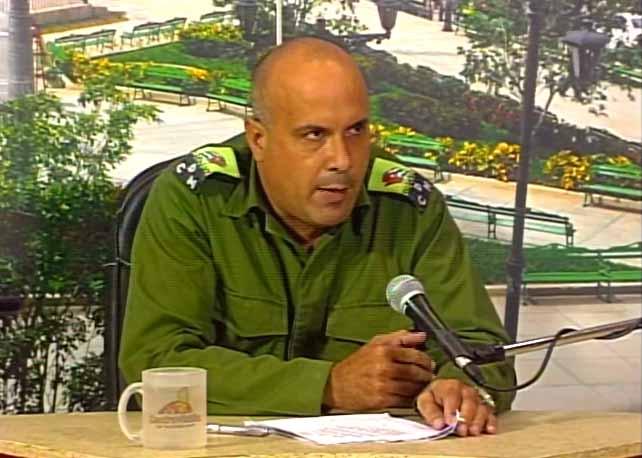 Julio Luis Jiménez López, presidente del Consejo de Defensa Municipal. (Foto: Tomada de Centrovisión)