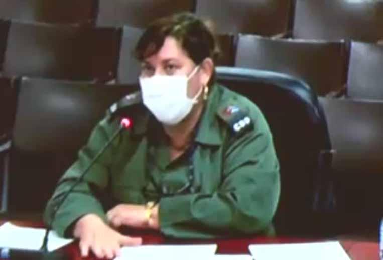 La gobernadora espirituana Teresita Romero informó mediante videoconferencia. (Foto: Captada de la Televisión Cubana)