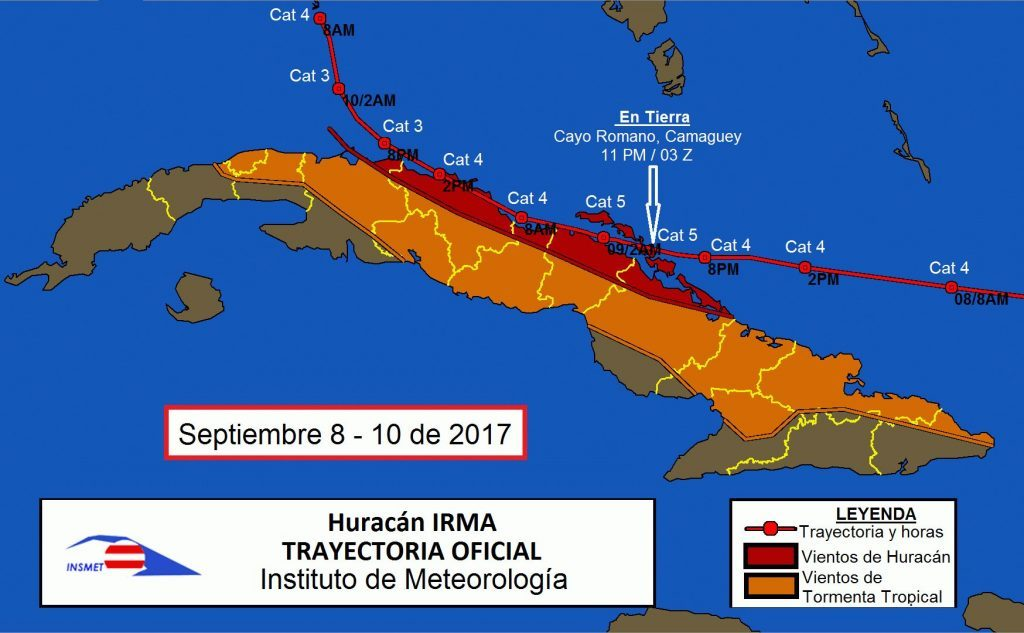 El último huracán que pasó por la provincia fue el Irma, el 9 de septiembre del 2017. (Mapa: Instituto de Meteorología)
