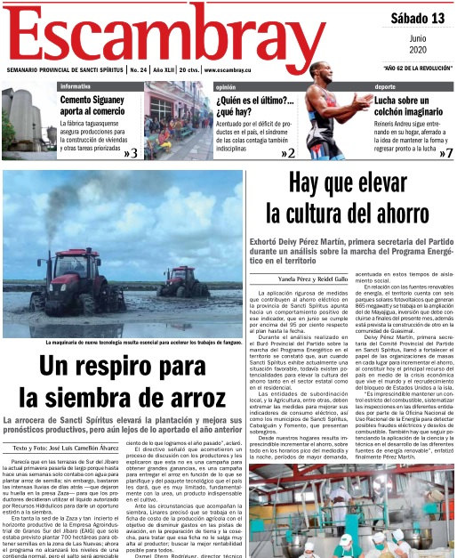 Escambray impreso 13 de junio, 2020