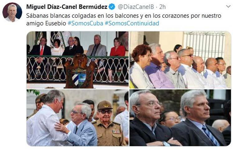 El jefe de Estado se refirió a la iniciativa  popular de colocar sábanas blancas en los balcones para rendir tribudo a Eusebio Leal. (Foto: PL)
