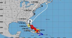 Huracán Isaías, Florida, Bahamas, trayectoria