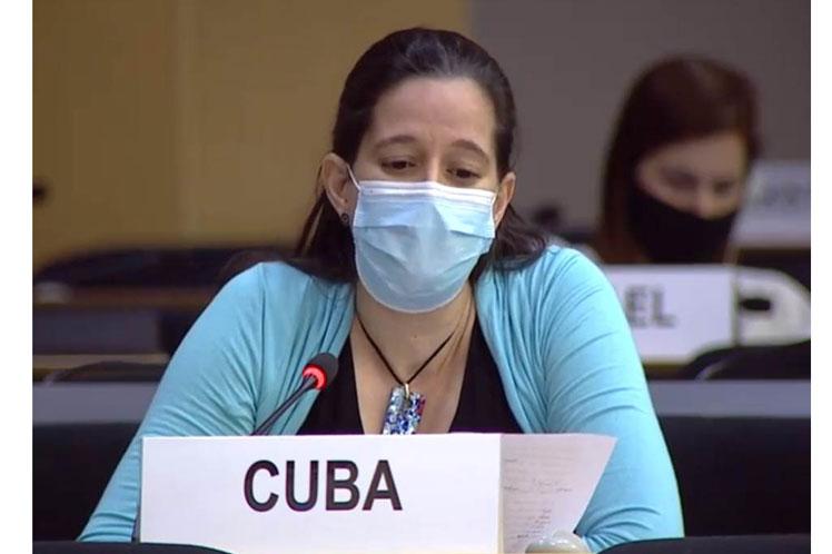 La diplomática cubana Lisandra Astiasarán intervino en un debate urgente sobre la situación de los derechos humanos en Belarús. (Foto: PL)