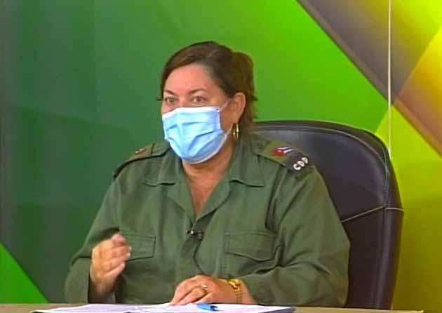 Teresita Romero insistió en la necesidad del cumplimiento estricto de las medidas higiénico-sanitarias. (Foto: Tomada de Centrovisión)