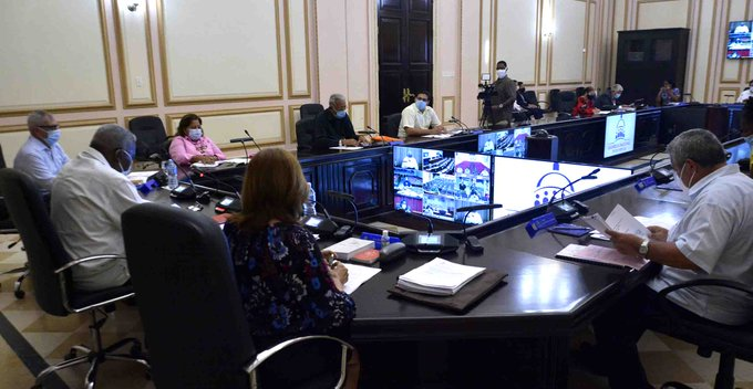 Por medio de videoconferencia, se reunió este miércoles el Consejo de Estado, en sesión presidida por Esteban Lazo Hernández. (Foto: @AsambleaCuba)