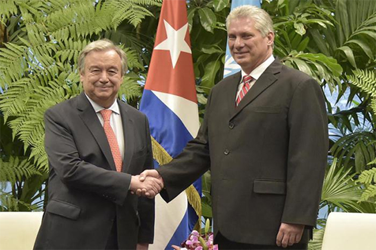 'Naciones Unidas podrá siempre contar con el apoyo decidido de Cuba y su pueblo', escribió el presidente de la isla en misiva a  Antonio Guterres. (Foto: PL)