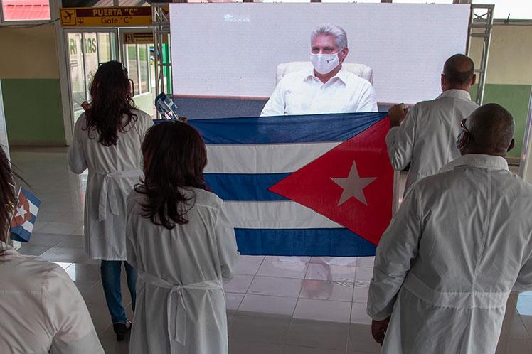 Díaz-Canel ponderó el asesoramiento y apoyo  en el enfrentamiento a la COVID-19 ofrecido durante más de tres meses. (Foto: PL)