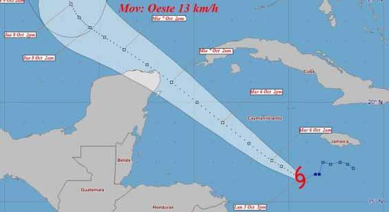 Delta ha inclinado el rumbo hacia el oeste noroeste a unos 13 kilómetros por hora. (Cono de trayectoria: INSMET)