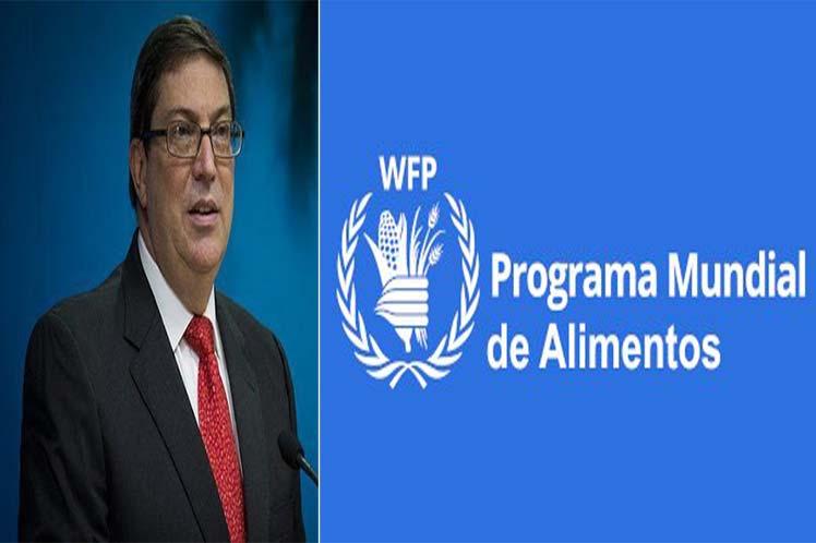 Bruno Rodríguez reconoció el trabajo del PMA en la reducción del hambre a nivel  internacional. (Foto: PL)