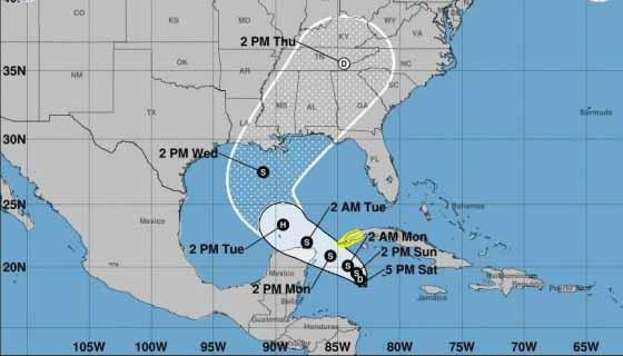 El centro de la depresión se pronostica que permanezca al sur del occidente de Cuba este domingo.