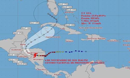 Cono de probable trayectoria de la Tormenta Tropical Eta. Imagen: Insmet.