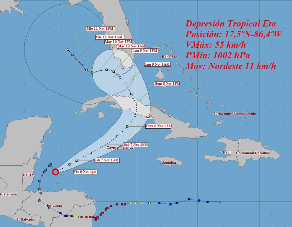 Cono de trayectoria de la Depresión Tropical Eta este viernes a las 6 pm. (Imagen: Insmet)