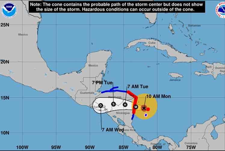 nicaragua, honduras, iota, huracanes, desastres naturales