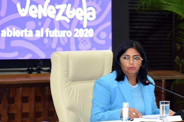 Delcy Rodríguez agradeció el apoyo de la mayor de las Antillas en el combate a la COVID-19 en Venezuela. (Foto: PL)