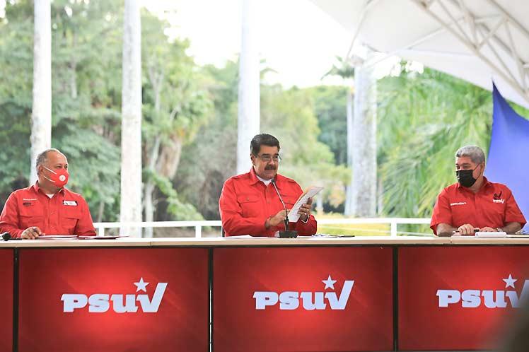 Maduro sostuvo un encuentro con la dirección nacional del Partido Socialista Unido de Venezuela. (Foto: PL)
