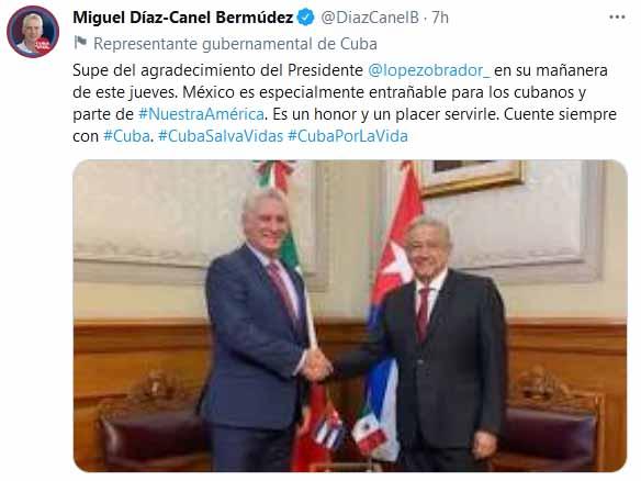 México es especialmente entrañable para los cubanos y parte de Nuestra América, aseguró el presidente antillano.