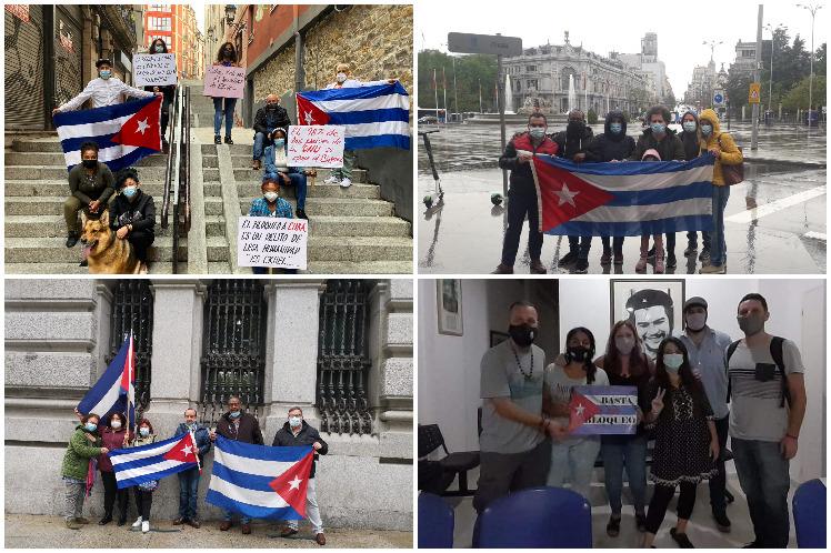 Desde España también se escuchó el reclamo contra el bloqueo. (Foto: PL)