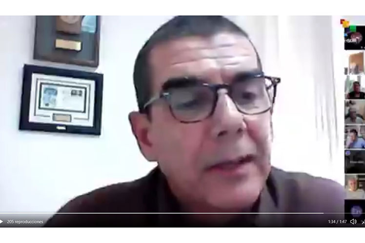 José Ramón Cabañas intervino en un evento virtual sobre la política estadounidense hacia América Latina bajo el gobierno de Biden. (Foto: PL)