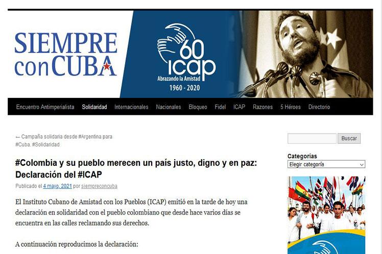 La ciudadanía colombiana reclama en las calles sus 'justos derechos', aseguró la institución en su página web. (Foto: PL)