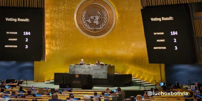 La Asamblea General de Naciones Unidas adoptó este miércoles una nueva resolución a favor del cese del bloqueo a Cuba. Foto: PL.
