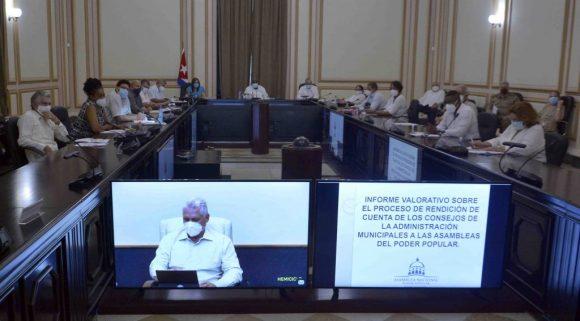 Mediante videoconferencia, Díaz-Canel encabezó la sesión de este lunes del Consejo de Estado. (Foto: Tony Hernández)