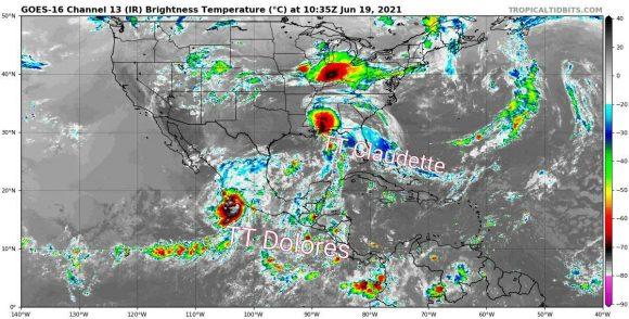 Claudette, con vientos máximos sostenidos de 75 kilómetros por hora, se desplaza con rumbo próximo al norte nordeste a razón de 19 kilómetros por hora. (Imagen satelital: Insmet)