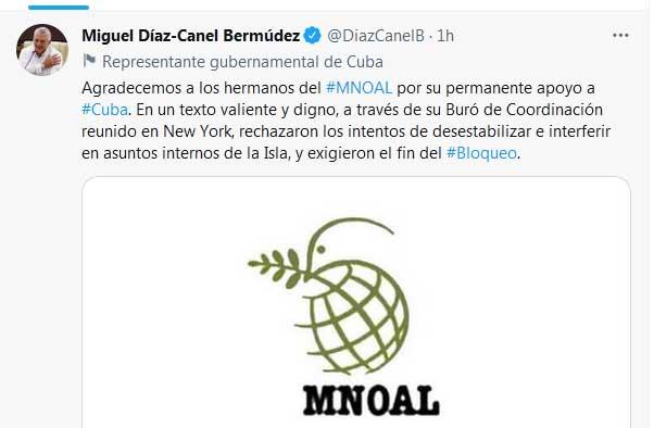 El presidente cubano hizo público su mensaje en su cuenta en Twitter.