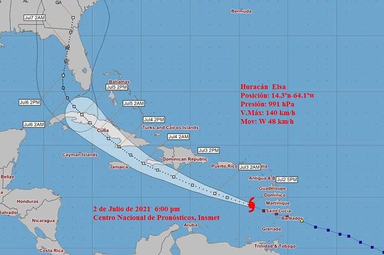 Dada la trayectoria pronosticada de este huracán y la época del año, Elsa representa un peligro potencial para Cuba.