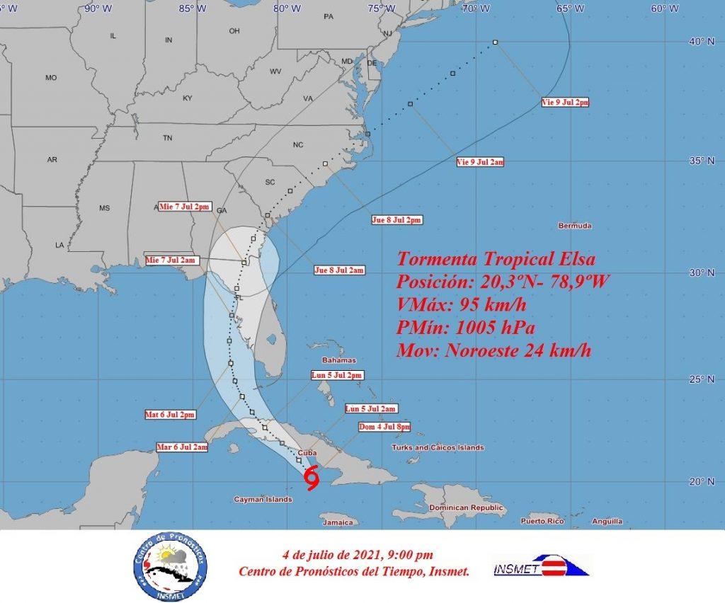 La tormenta Elsa avanza por los mares del sur de la isla en la noche de este domingo.