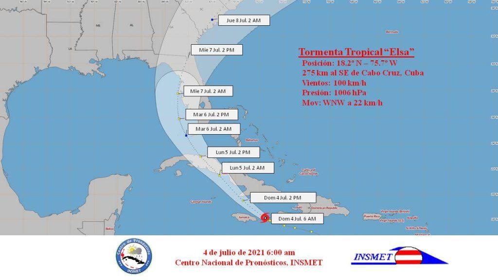 A las seis de la mañana el centro de la tormenta tropical Elsa fue estimado a unos 275 kilómetros al sudeste de cabo Cruz, Granma.