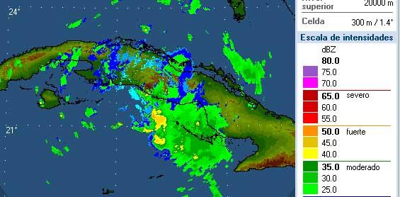 Imagen captada a las 6 y 40 de la tarde de este viernes por el radar meteorológico ubicado en Pico San Juan, en el centro de Cuba.