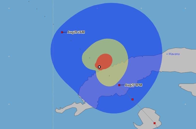Simulación del radio de vientos del huracán Ida tras su salida de Cuba.